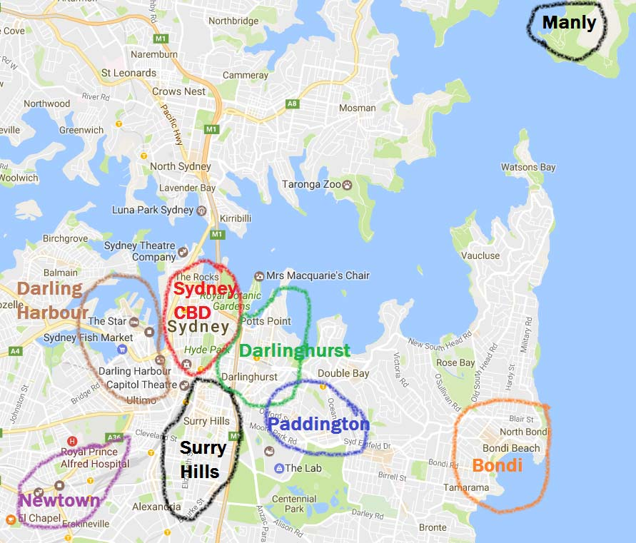 Best places to stay in Sydney 2019 [best areas MASTER GUIDE ... on syd ney botanical garden map, train line map, heritage harbor parking map, oakland map, sidney mt map, garden island nsw map, 1968 holiday inn kings cross sydney map, manly australia map, king s cross map, brisbane cbd map, sidney on a world map, australia attractions map,