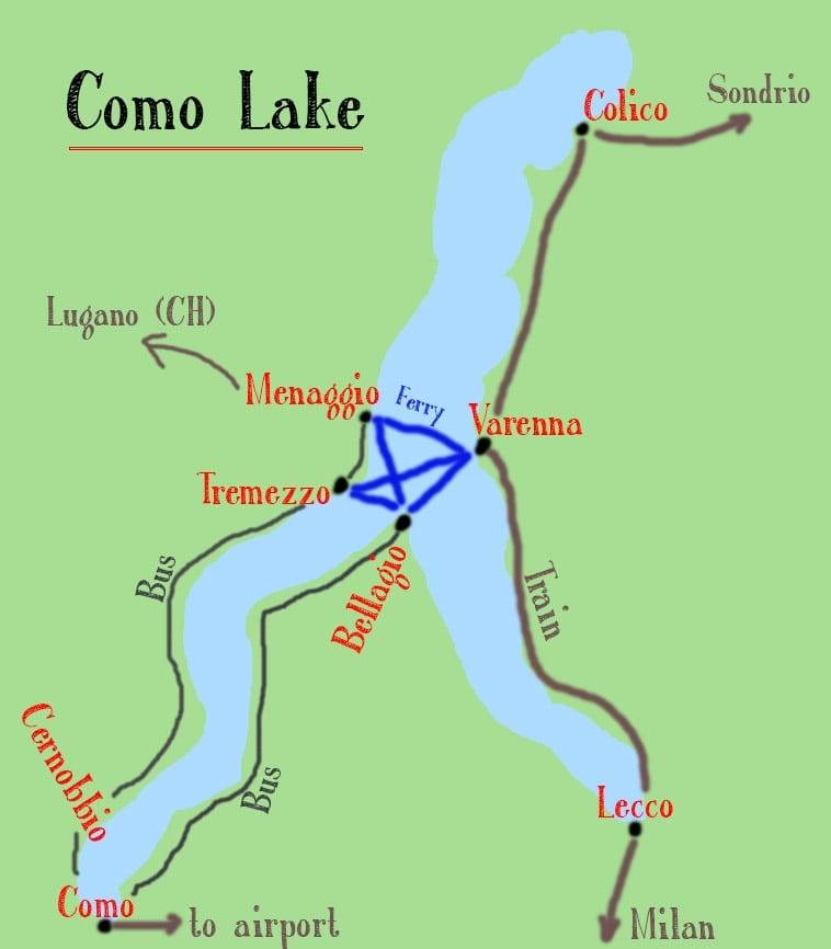 Kaart van de beste plaatsen om te verblijven in het Comomeer